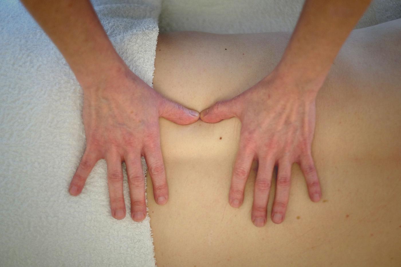 Client receiving Bowen technique treatment